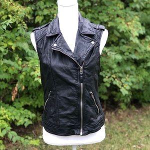 A&F leather biker vest